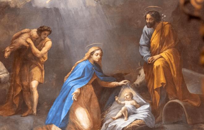 São José no presépio - Nossa Senhora das Graças